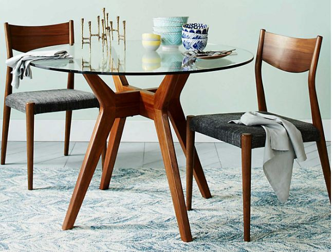 Teak Wood Dining Table Round Top With 4, Round Glass Top Dining Table With 4 Chairs